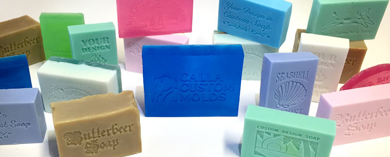 Collection of custom soaps made with mold mats